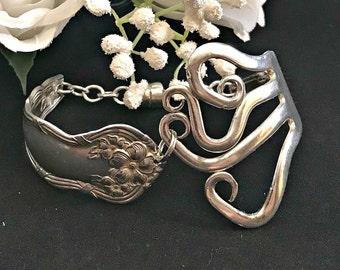 Silver Fork Bracelet , Spoon Bracelet , Vintage Wedding , Vintage Bracelet , Silver Wedding , Eco Friendly , Bridesmaid Bracelet , Wedding