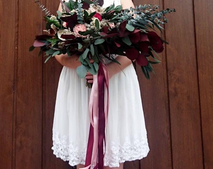Wild boho wedding bouquet with preserved eucalyptus