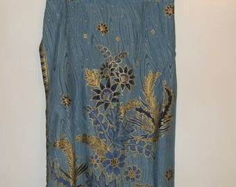 Vintage Ethnic Blue and Gold Floral Wrap Around Maxi Skirt Size Small to Large