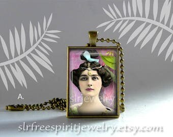 Victorian Jewelry Design, Vintage Victorian Photo Jewelry, Boho Jewelry, Rectangle Pendant Necklace, Fashion Trends, Gift for women