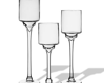 Long Stem Candle Holder with Contemporary and Elegant Style. Set of 3 pcs # GFC121/12/14/16