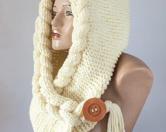 Hooded Scarf, Scarf, Hood, scarf hooded, Chunky scarf, Wool cowl | 502