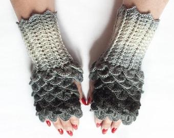 Knitted Fingerless Mittens, Knit Fingerless gloves, Dragon Scale Fingerless Gloves, Dragon Gloves,  Boho Glove by LoveKnittings