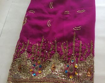 Vintage Fuschia Pink Chiffon Sheer Sari Sequin and Stone Detail - 1970s 1980s