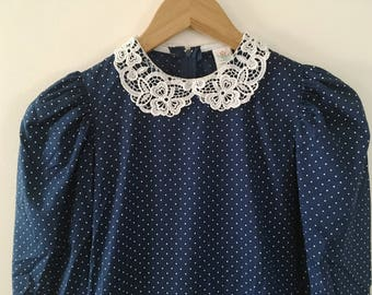 Vintage Navy Polka Dot Dress - Girls size 12