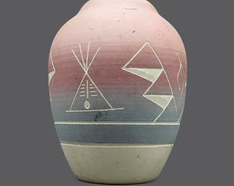 Native American Swallow Sioux Vase Native American Pottery Art Ceramic White Light Blue Pink
