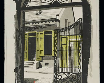 Mark Coomer Serigraph New Orleans Wrought Iron Gate French Quarter Print Vintage Art Silkscreen Screenprint Silkscreen
