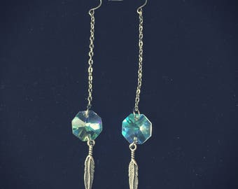 prism feather dangle earrings~