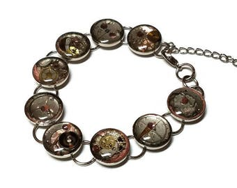 Pink and Silver Steampunk Abstract Painted Chain Bracelet