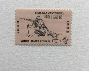 10 Vintage 4c US postage stamps - Battle of Shiloh 1962 - blush pink peach Civil War Centennial American history - unused