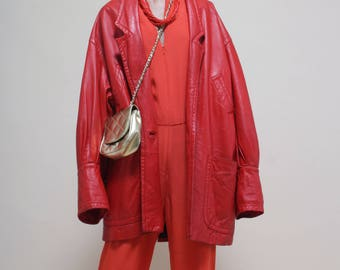 Leather oversize vintage jacket from ROCCOBAROCCO 80's