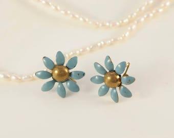 Blue Enamel Earrings Vintage 1950s Earrings Blue Bronze Earrings Little Flower Screw Back Earrings Cheap Vintage Original 1930s 1950s Gift