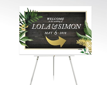 Botanical Wood Plank Welcome Direction Sign Arrow . Gold & Black Tropical Palm Leaf Rain Forest Costa Rica Eucalyptus Garland . PRINTED Sign