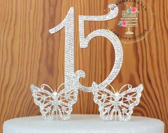 Elegant 15 0R 16 Quinceañera Rhinestone cake topper decoration numbers cake topper Birthday Anniversary cake topper bling