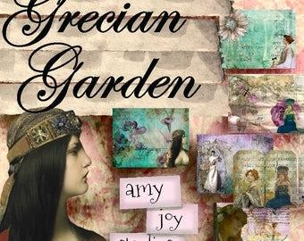 Grecian Garden  Vintage Journal Kit  Garden Journal  Printable journal  junk journal kit  vintage journal tags  Greek goddess  collage paper