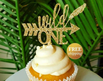 Wild One Wild One Cupcake Toppers Boho Cupcake Toppers Wild One Birthday Wild One Party Decor Boho Party Decor Gold Wild One Toppers Glitter