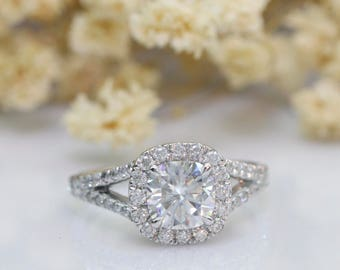 Cushion Cut 1.50ct Moissanite Esdomera Halo Accents Split Shanks 14k White Gold Engagament Ring (CFR0511-MS1.5CT)