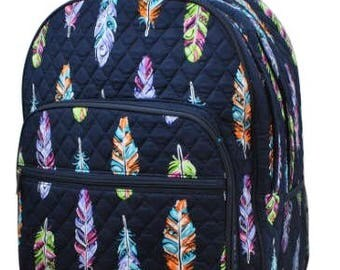 Feather Print Large Quilted Backpack Great for Back to School or Diaper Bag Navy