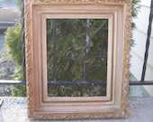 Antique Wood frame, Ornate Gesso picture frame, Rustic open gallery wall hanging, Photo prop, Wedding decor, Shabby cottage chic, Farmhouse