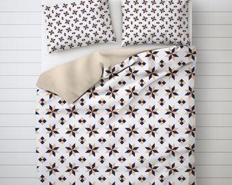 Stars Duvet Cover, Geometric Art Bed, Barcelona Tiles Art, Duvet Cover Queen, Duvet Set, Pillow Sham Pattern, Bedding Sets