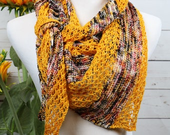 Statement scarf, sunflower yellow shawl, bright gold, lacey striped scarf, assymetrical triangle scarf