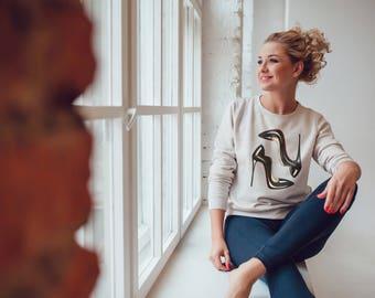 Heels Sweatshirt, Fashion Sweatshirt, Heel Sweatshirt, Grey Sweatshirt, Printed Sweatshirt, Graphic sweatshirt, Fashion lover gift