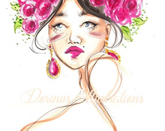 Fashion art, Fashion illustration, Pink wall art, Beauty wall art,  Fashion portrait, Fashion drawing,Watercolor painting,Fashion wall art