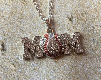 Baseball Pendant, Mom/Baseball Necklace, Rhinestone Baseball Pendant, Sports Necklace/Pendant, Sports Jewelry, Baseball Jewelry, Gift Idea