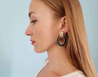 Oversized Black and Gold Retro Hoop Earrings