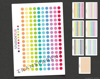 Clear Dots Planner Stickers - 160 Transparent Date Dots - Repositionable Vinyl
