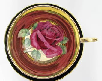 Paragon Black Tea Cup and Saucer with Large Red Rose and Gold Gilt, Fine Bone China