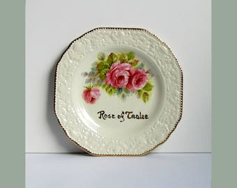 Rose of Tralee - Irish hand painted china plate 24KT gold detail and pink rose motif on embossed ware by O'Connell Cork Ireland flower art
