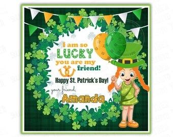 """St Patrick's Day Printable Tags-Girl-Happy St Patrick's Day-D.I.Y Tags- Personalized Stickers (You Print) 2.5"""" tags"""