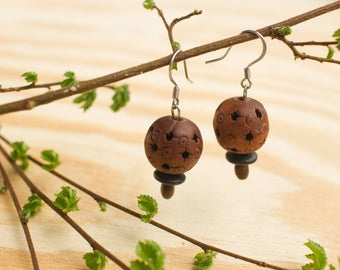 Unique Wooden Beads Earrings with stainless steel hooks