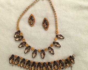 Vintage Topaz Rhinestone Necklace Bracelet & Earrings Set Diamond Shaped