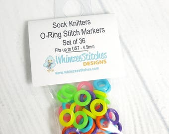 Rubber O-ring Stitch Markers (snag free) fits up to US7 4.50mm knitting needles - Set of 36 ring markers (colors vary) SM0013