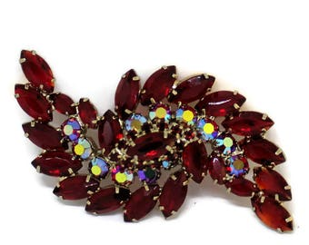 Classic Vintage 1950'S Ruby Red/AB Rhinestone Brooch/Pin Audrey Hepburn Style Rhinestone Jewelry Bridal Pin 50's Style