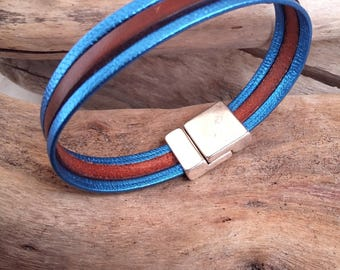 Leather bracelet, blue and brown, Boho jewelry By Dodie