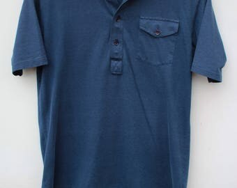 80s Polo Shirt / Men's MEDIUM - Slim Fit / High Quality Golf Polos / Plain Blank Solid Navy Blue
