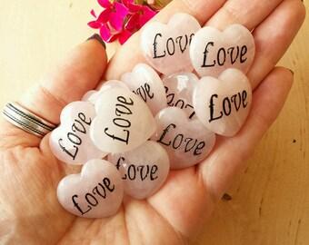 Rose Quartz Hearts, Healing Crystals, Rose Quartz, Love Hearts, Gemstone Heart, Metaphysical Crystals, Rose Quartz, Witchcraft, Wicca