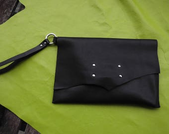 One of a kind Italian Leather Clutch Wristlet with matching purse insert
