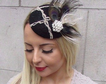 Black Beige Cream Feather Fascinator Vintage Pillbox Hat Clip Races 1940s 3214