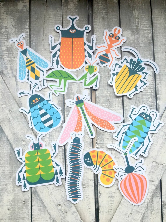 Colorful Insects Die Cuts,Scrapbooking,Bugs Die Cuts,Insect Scrapbooking Die Cuts,Bug Party,Party Supplies,Bug Cut Outs,Bug Birthday Party