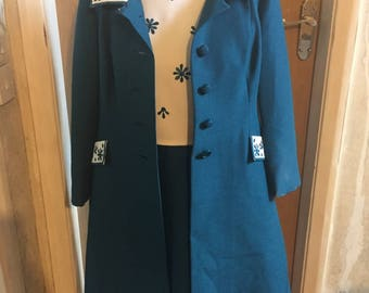 Vintage: Mid 1970s teal dress and matching coat set.
