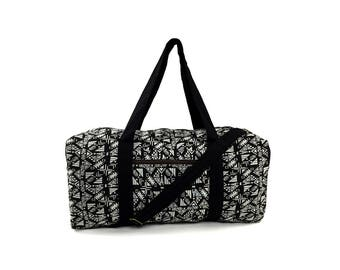 Aztec Travel bag, Hippie Weekender bag, Big Overnight bag, Carry on bag, Holdall, Boho Duffle bag, Ethnic Tribal bag, Vegan bag, Black White