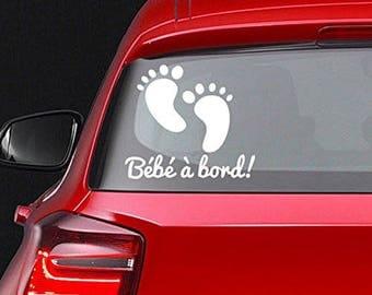 Baby feet edge sticker for sticking on car window or body white 20 CM