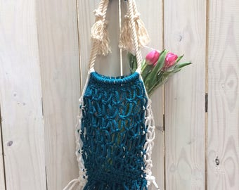 Environmentally Friendly Sapphire Blue Macrame Market Bag, Reusable Shopping Bag, Eco-Friendly Shopping Bag, Shopping Bag, Macrame Beach Bag
