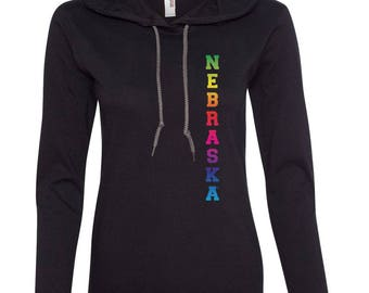 Women's Rainbow NEBRASKA Long Sleeve Hooded Tee Shirt Hoody With Relaxed Unlined Hood With Contrasting Drawcord