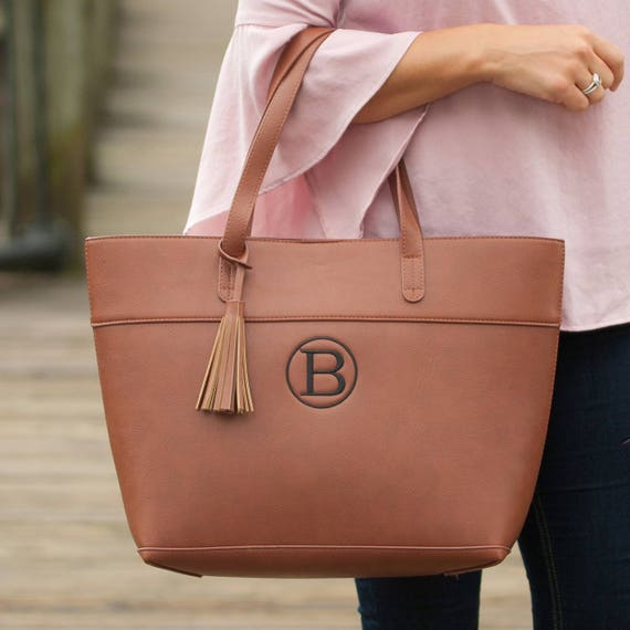 Monogrammed Bags Camel Monogrammed Purse Brown Handbag Tan Handbag with Tassel Trim Monogrammed Gifts Personalized Weddings Highway12Designs