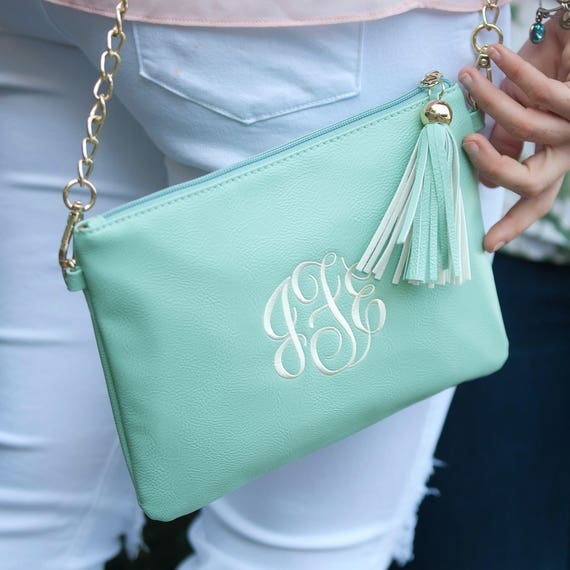 Monogrammed Purse Mint Convertible Purse Aqua Crossbody Bag Seafoam Monogrammed Bag Personalized Gift Bridesmaids Weddings Highway12Designs